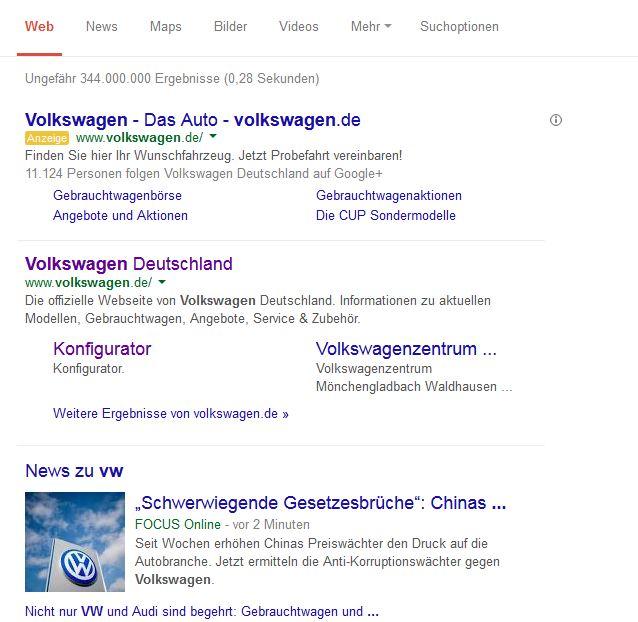 """screenshot 28.08.2014 Suche: """"vw"""" bei Google"""